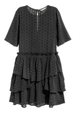 Hole-embroidered dress - Nearly black - Ladies | H&M CN 2