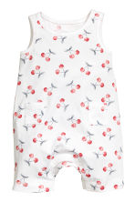 Jersey romper suit - White/Cherry - Kids | H&M 1