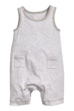Jersey romper suit - Grey/Fine stripe - Kids | H&M CN 1