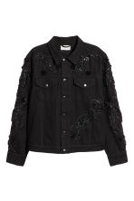 Embroidered denim jacket - Black - Men | H&M CN 2