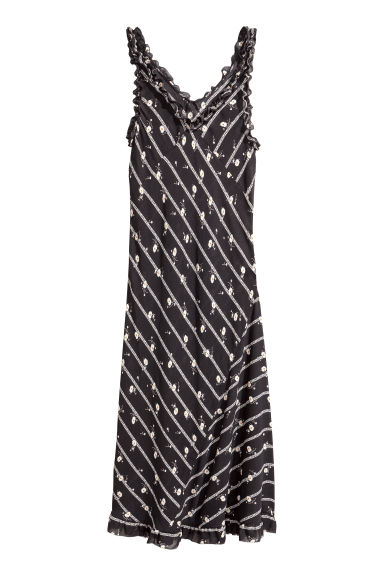 Chiffon maxi dress - Black/Patterned - Ladies | H&M CA 1