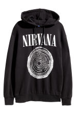 Hooded top with a motif - Black/Nirvana - Men | H&M CN 2