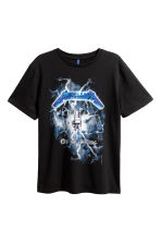 Printed T-shirt - Black/Metallica - Men | H&M 2