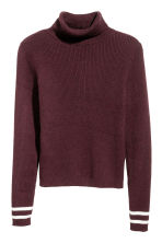 Ribbed polo-neck jumper - Burgundy -  | H&M 2