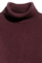 Ribbed polo-neck jumper - Burgundy -  | H&M 3