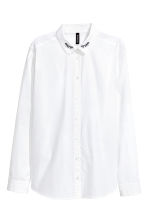 Cotton poplin blouse - White - Ladies | H&M 2