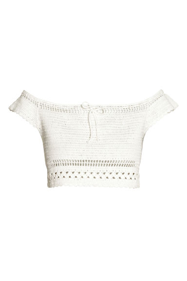 Crocheted top - White - Ladies | H&M GB