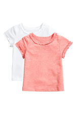 Lot de 2 tops en jersey - Rose corail -  | H&M FR 1