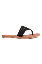 Crocheted flip-flops - Black -  | H&M CA 2