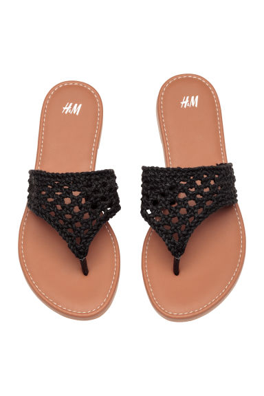 Crocheted flip-flops - Black -  | H&M CA 1