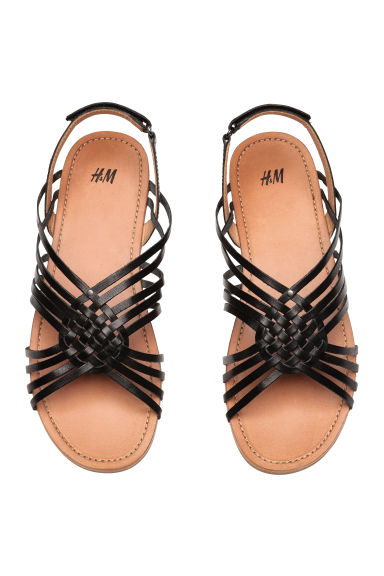 Braided leather sandals - Black - Kids | H&M CN 1