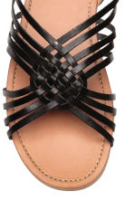 Braided leather sandals - Black - Kids | H&M CN 3