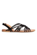 Braided leather sandals - Black -  | H&M CN 2