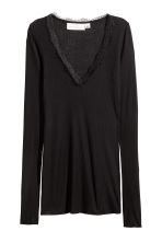 Ribbed jersey top - Black - Ladies | H&M CN 3