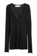 Ribbed jersey top - Black - Ladies | H&M CN 4