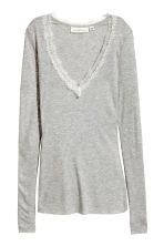 Ribbed jersey top - Grey marl - Ladies | H&M 2