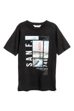 Cotton T-shirt - Black - Kids | H&M CN 1