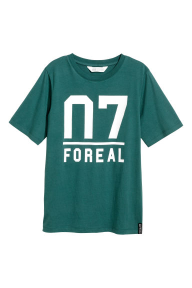 Cotton T-shirt - Petrol green - Kids | H&M CN 1
