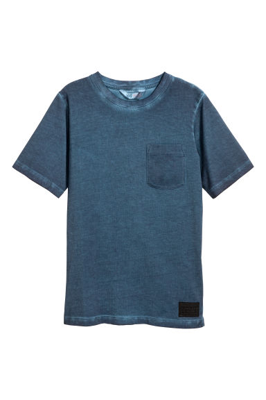 Katoenen T-shirt - Donkerblauw washed out -  | H&M NL 1