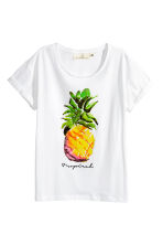 Printed cotton top - White/Pineapple - Ladies | H&M CN 2