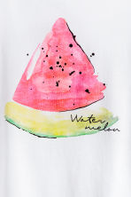 Printed cotton top - White/Watermelon - Ladies | H&M 3