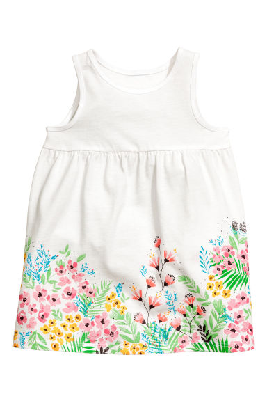 Jersey dress - White/Floral - Kids | H&M
