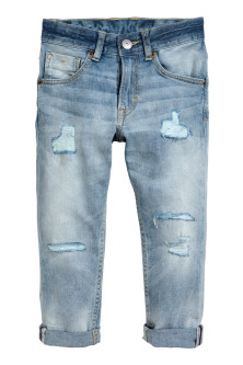 Relaxed Tapered Worn Jeans
