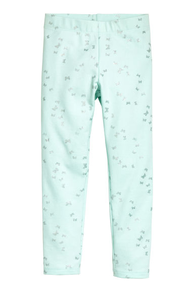 Sturdy jersey leggings - Mint green/Butterflies -  | H&M