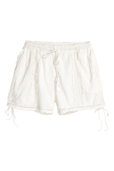 Cotton lace shorts - White - Ladies | H&M