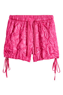 Crinkled nylon shorts