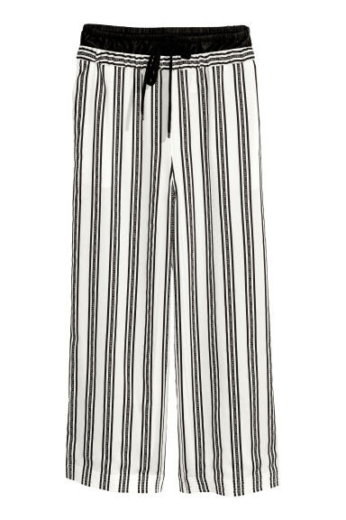 Silk-blend grosgrain trousers - White/Black striped - Ladies | H&M CN 1