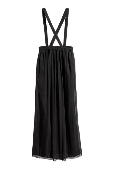 Silk chiffon skirt with straps - Black -  | H&M CN