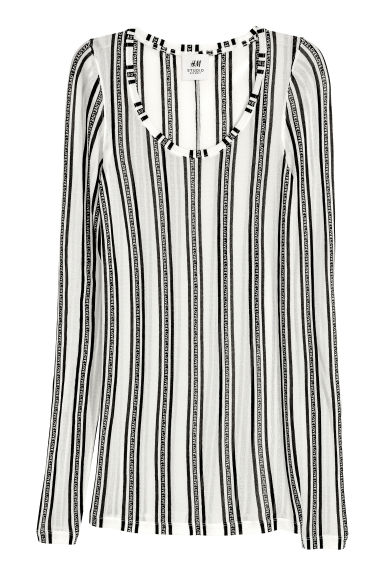 Silk top - White/Black striped - Ladies | H&M