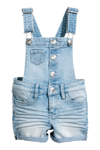 Dungaree shorts - Light denim blue - Kids | H&M CN