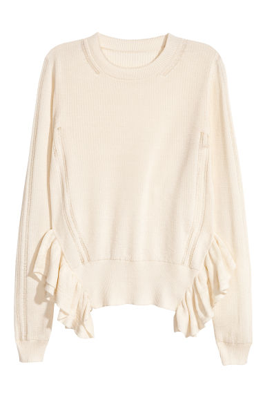 Textured cotton jumper - Natural white - Ladies | H&M CN 1