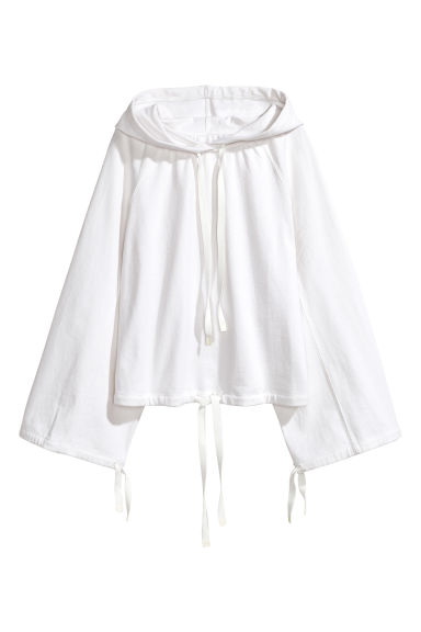 Linen-blend hooded top - White - Ladies | H&M CN 1