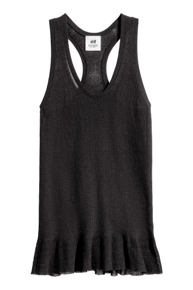 Fine-knit vest top - Black -  | H&M CA 1