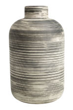 Large stoneware vase - White/Black striped - Home All | H&M CN 1