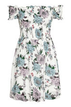 Dress with smocking - White/Floral - Ladies | H&M CN 2