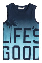 Printed vest top - Dark blue/Turquoise - Kids | H&M CN 2