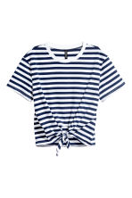 Tie-front T-shirt - Blue/White striped - Ladies | H&M 2