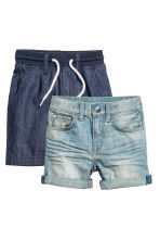 2-pack denim shorts - Denim blue/Dark denim blue - Kids | H&M IE 2