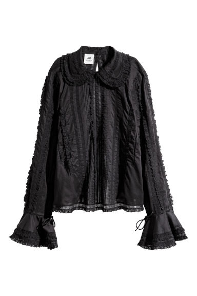 Cotton lace blouse - Black - Ladies | H&M CN