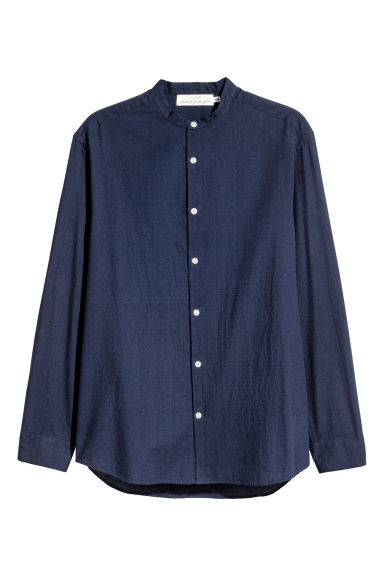 Grandad shirt Regular fit - Dark blue - Men | H&M 1