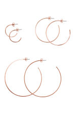 3 pairs hoop earrings - Rose gold - Ladies | H&M 1