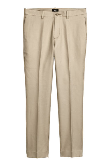 Pantalon en coton Slim fit - Beige clair - HOMME | H&M BE 1