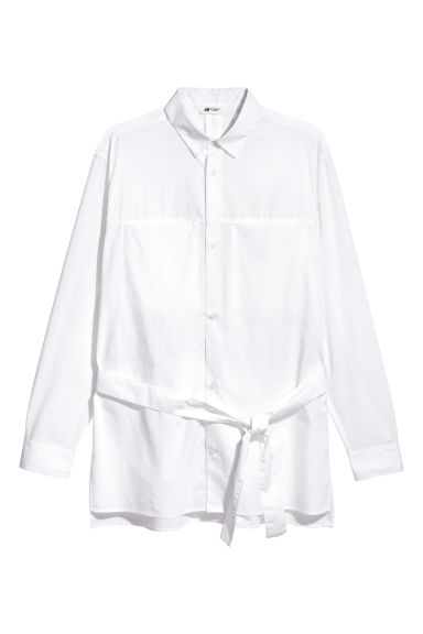Cotton shirt with a tie belt - White - Men | H&M