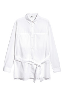 Cotton shirt with a tie belt