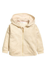 Wide hooded jacket - Light beige/Glittery -  | H&M 2