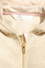 Wide hooded jacket - Light beige/Glittery -  | H&M 3